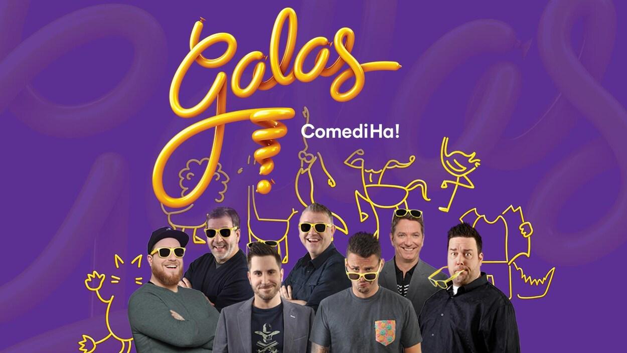Les humoristes P-A Méthot, Philippe Bond, Patrice L'Ecuyer, Dominic Paquet, Phil Roy et le duo formé de Billy Tellier et Mario Jean posent avec des lunettes jaunes. Ils sourient tous à la caméra.