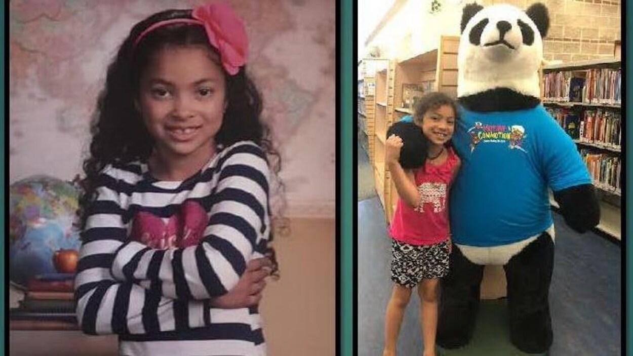 Deux photos juxtaposées, dont la première montre une jeune fille qui sourit et l'autre, une jeune fille dans une bibliothèque avec un ourson en peluche géant.