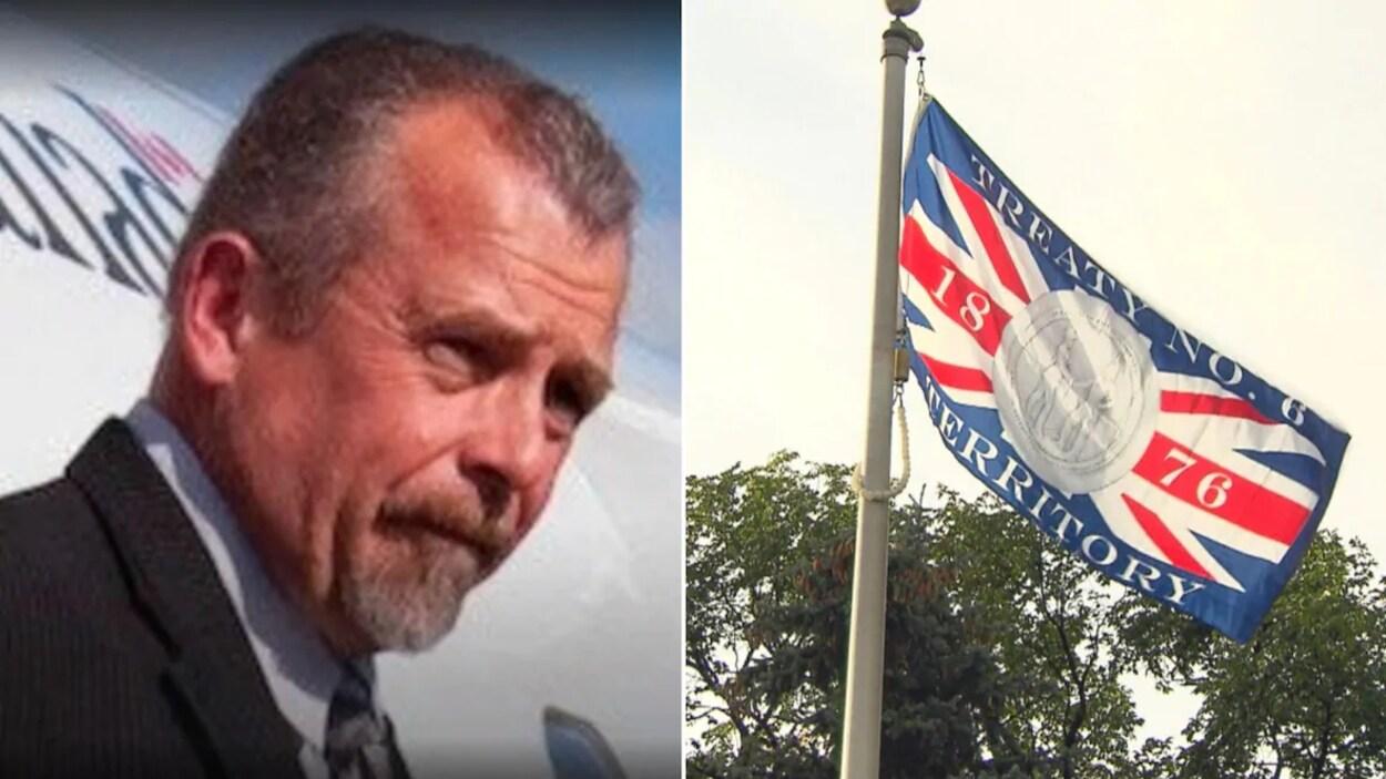 À gauche, Paul Bunner descend d'un avion. À droite, le drapeau des Nations du Traité no 6.
