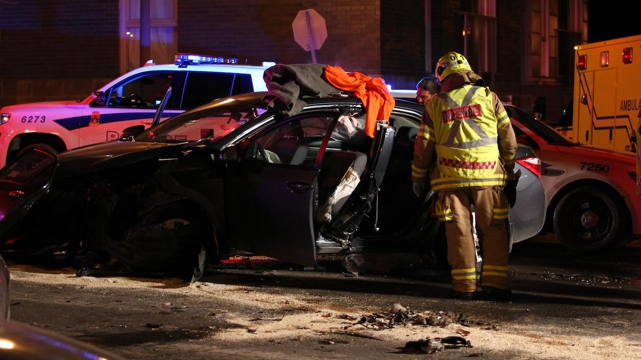 Taxi accidenté sur René-Lévesque, janvier 2018.