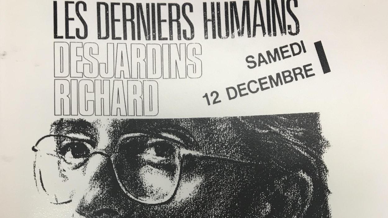 L'affiche du lancement de l'album « Les derniers humains », de Richard Desjardins, au Cabaret de la dernière chance, à Rouyn-Noranda, le 12 décembre 1987.