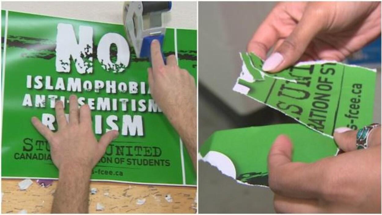 Des affiches antiracistes sont arrachées et déchirées sur le campus de l'Université Memorial.