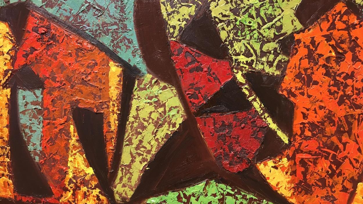 Étude sur fibre de verre - Albert Rousseau 1976 -Oeuvre abstraite colorée.