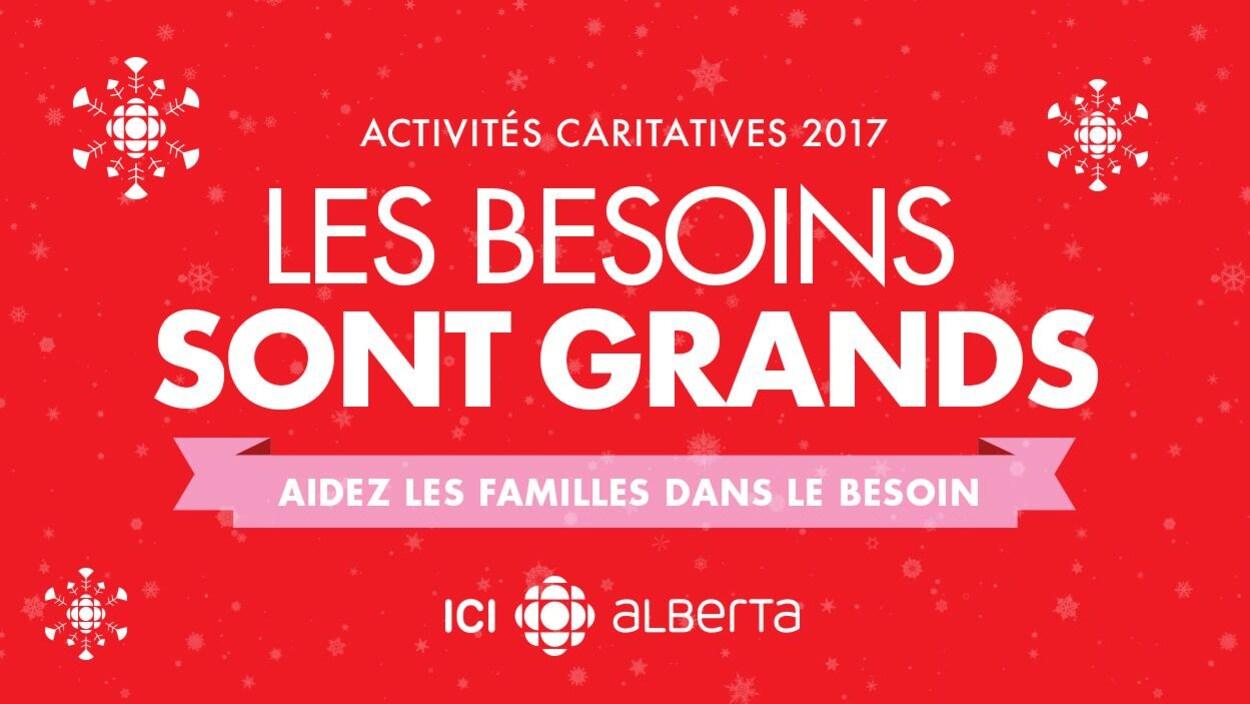Image promotionnelle de la collecte de dons de CBC/Radio-Canada en Alberta : Activités caritatives 2017. Les besoins sont grands, aidez les familles dans le besoin.