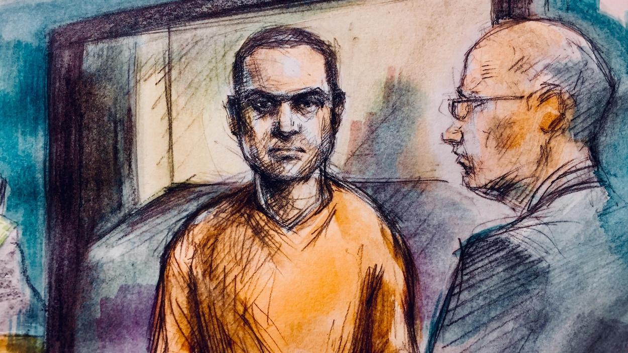 Dessin de cour d'Alek Minassian portant une tenue de prisonnier orange