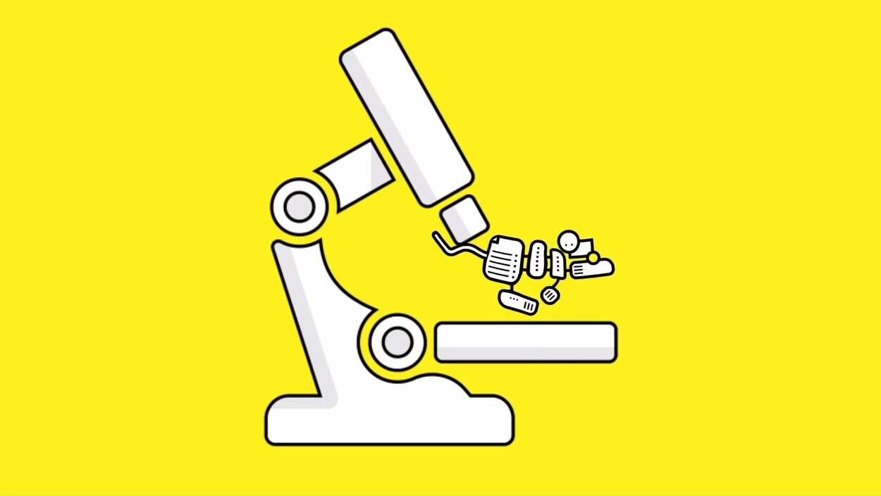 Une illustration montrant un microscope stylisé sur lequel une souris à l'apparence robotique tente de s'enfuir.