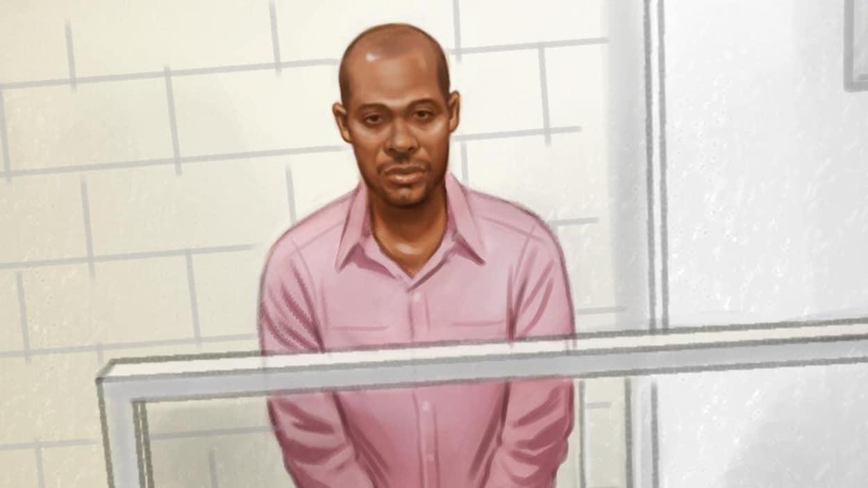 Dessin illustrant un homme menotté sur un écran lors d'un témoignage au tribunal