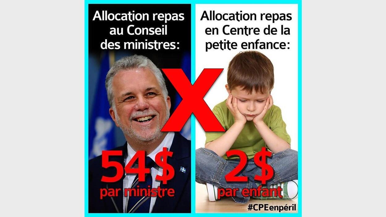 Nous voyons les fausses statistiques, avec une photo du premier ministre du Québec, Philippe Couillard, ainsi qu'un enfant triste.