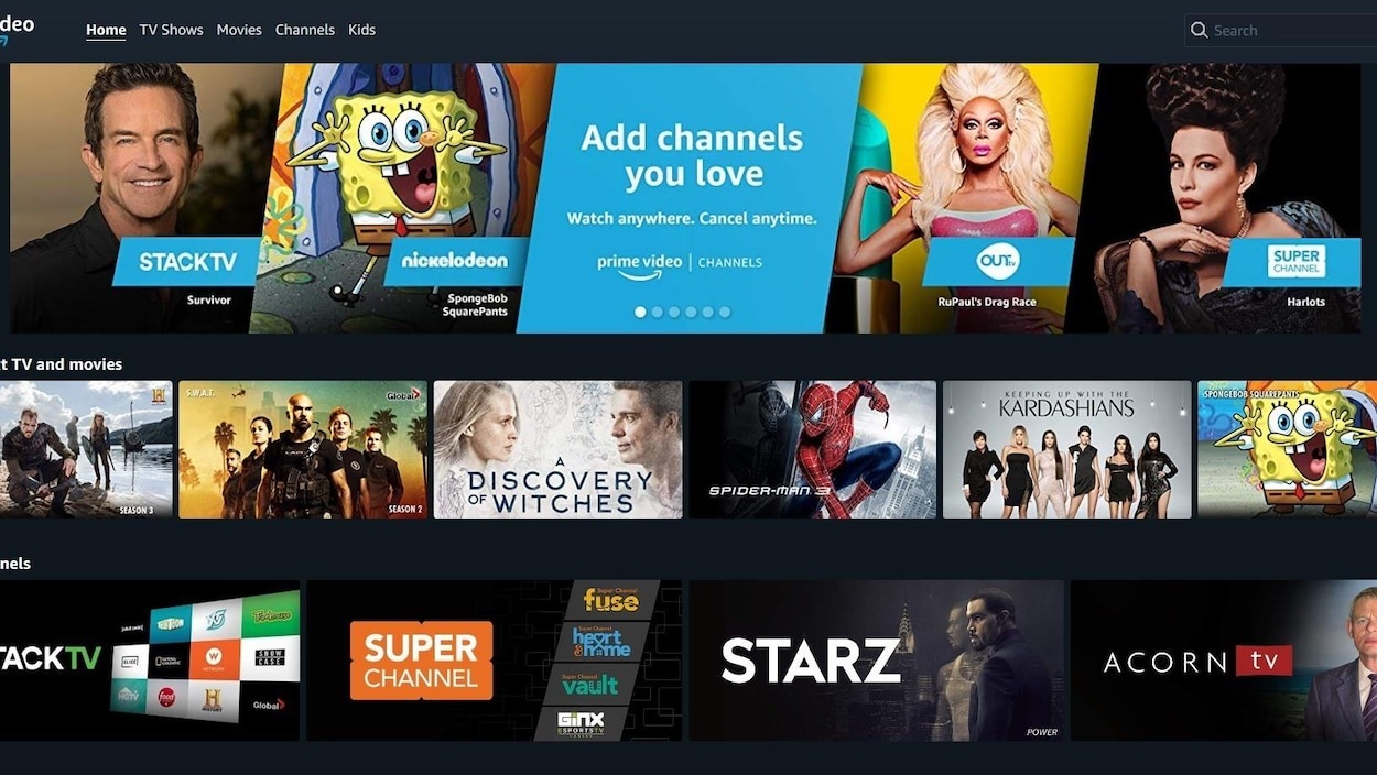 Capture d'écran de Prime Video Channels