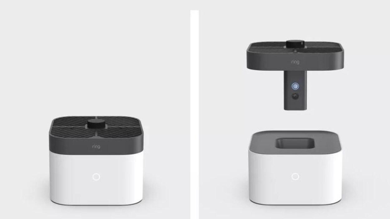 Deux images : un objet avec une caméra intégrée et un objet avec la caméra qui flotte au dessus.