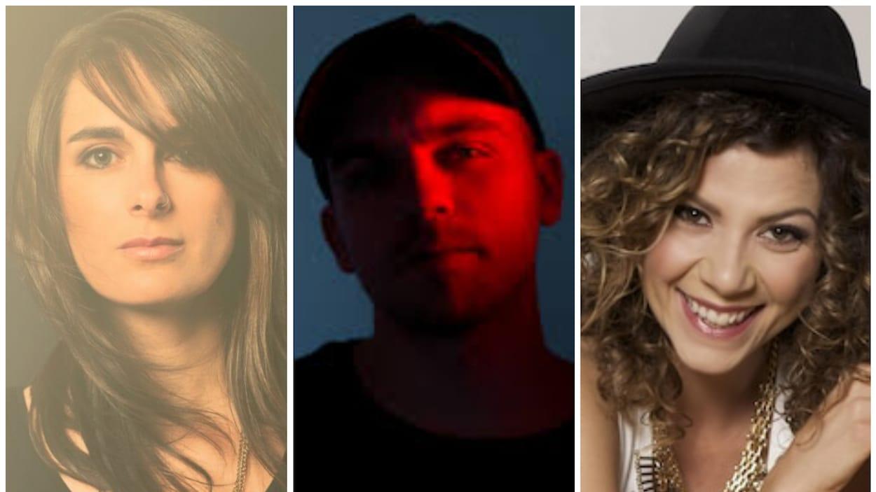 Portraits officiels des artistes fransaskois Anique Granger, Shawn Jobin et Alexis Normand.
