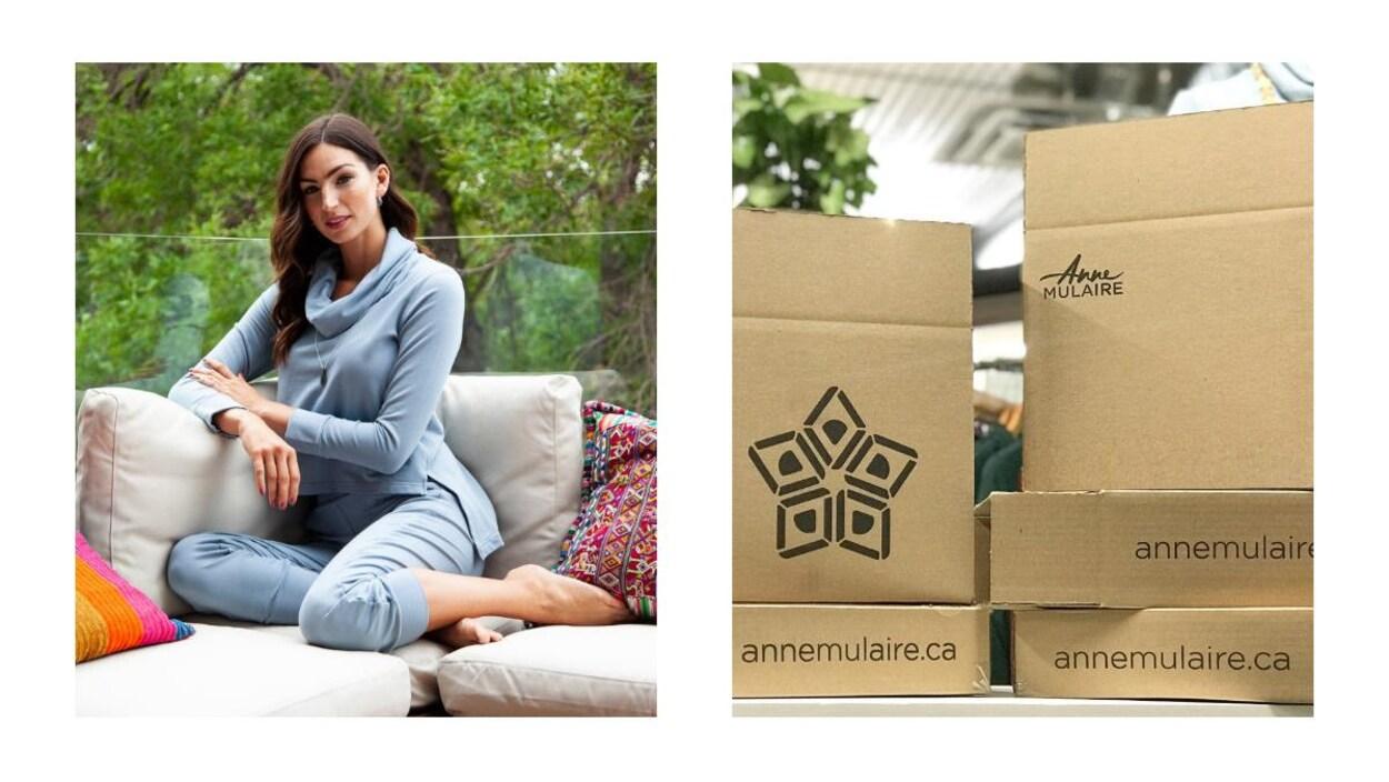 Des boîtes en carton avec le logo de la marque Anne Mulaire.