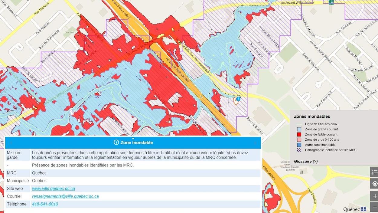 L'image montre une zone inondable située à Québec ainsi qu'une légende expliquant la signification des différentes couleurs qu'on retrouve sur la carte.
