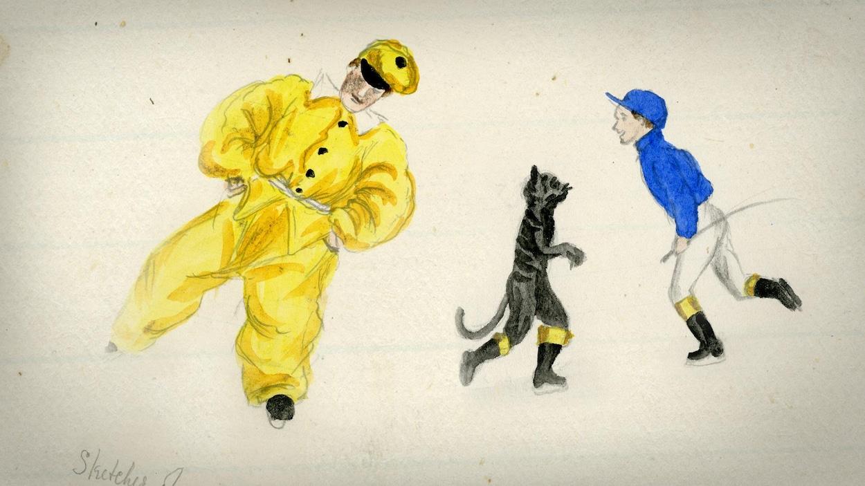 Des patineurs en costume s'élancent sur la glace. On voit un personnage de pierrot dans un scintillant costume jaune, un chat de la taille d'un enfant et un cavalier au costume de jockey bleu.