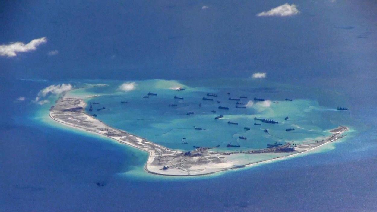 Le récif Mischief, dans l'archipel de Spratlays, en mer de Chine méridionale, est l'une des îles artificielles où la Chine pourrait installer des missiles sol-air à longue portée.