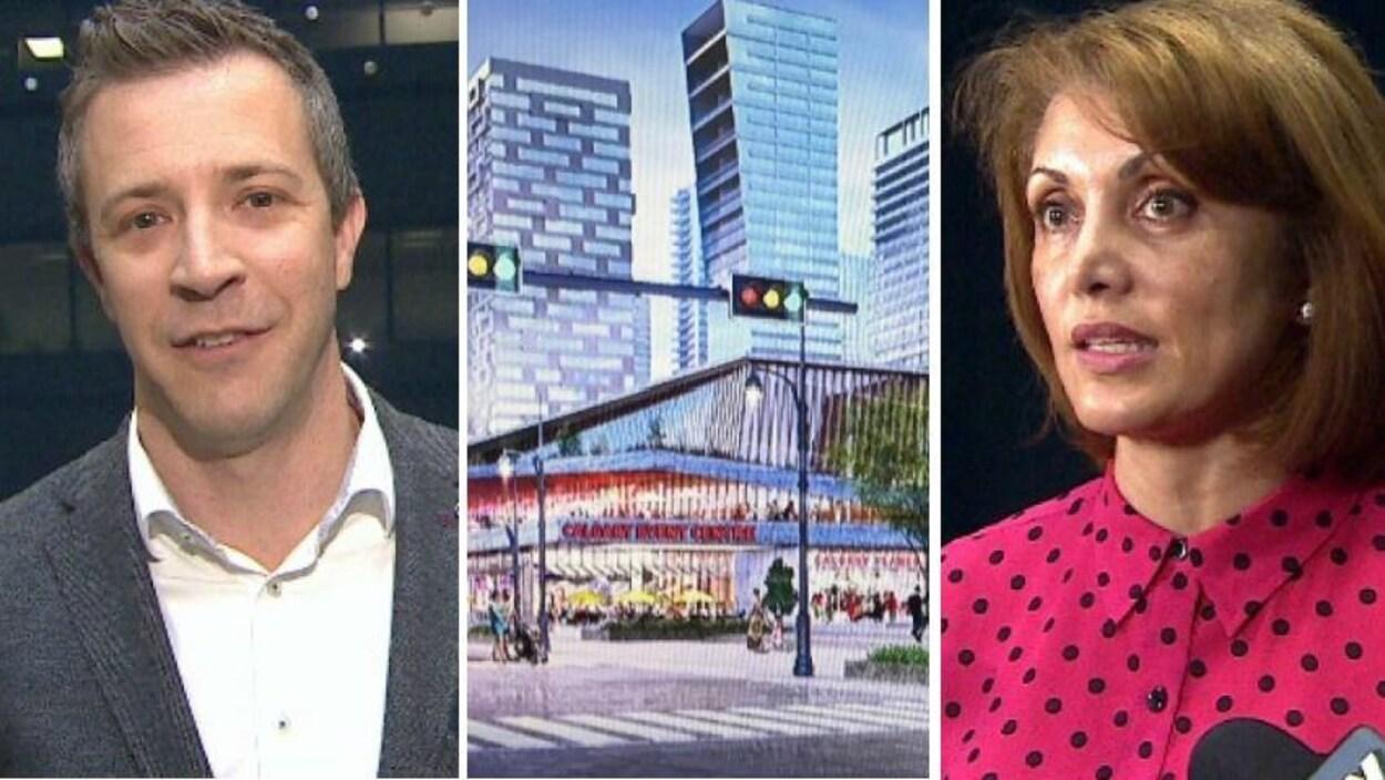 Un collage de trois photo. À gauche: un homme avec une chemise blanche et une veste grise. Au centre: une image de la proposition du nouvel aréna. À droite: une femme avec une chemise rose à poids noirs.