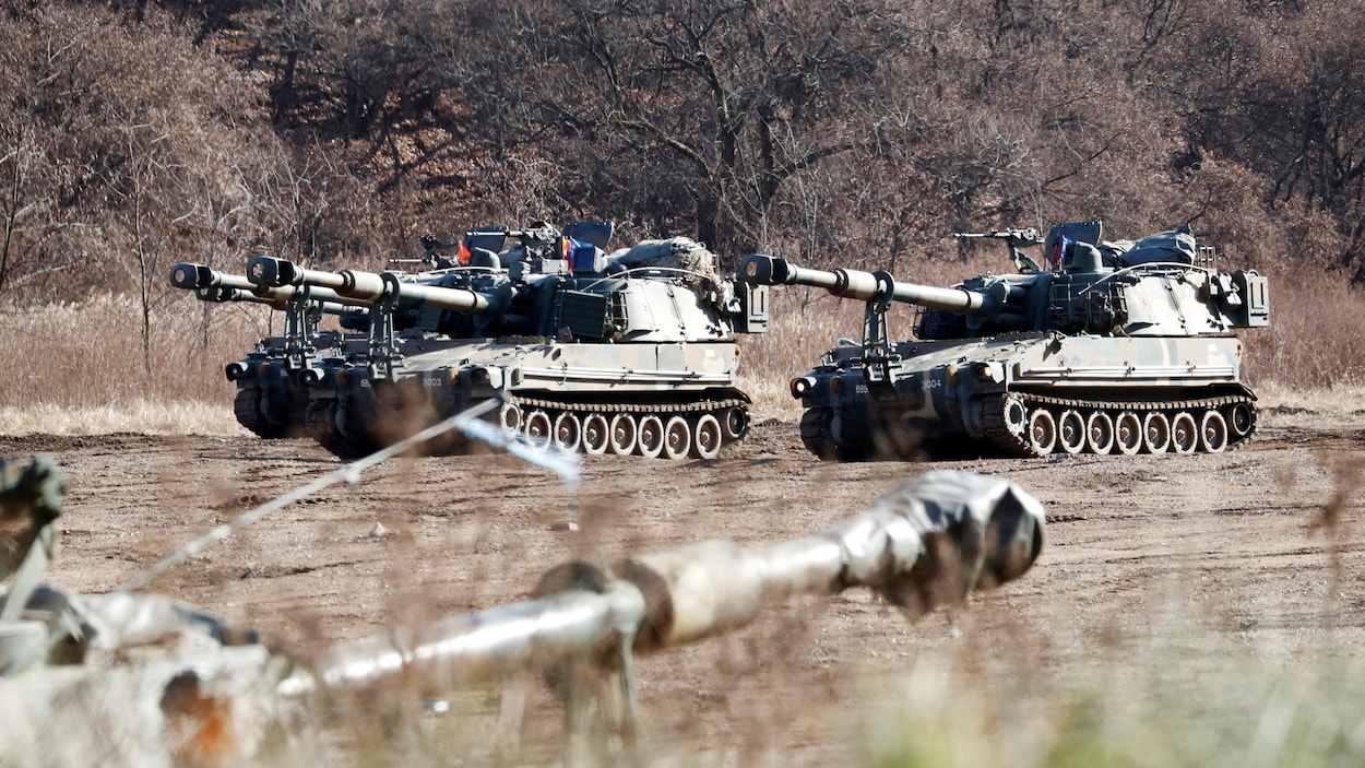 Des chars sud-coréens lors d'un exercice militaire.
