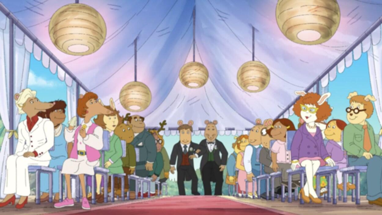 Capture d'écran du mariage de M. Ratburn tirée du dessin animé «Arthur».