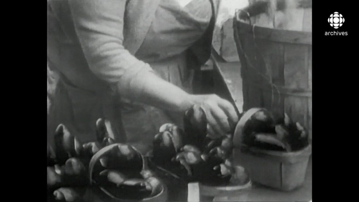 Main qui met des aubergines des petits paniers de bois.