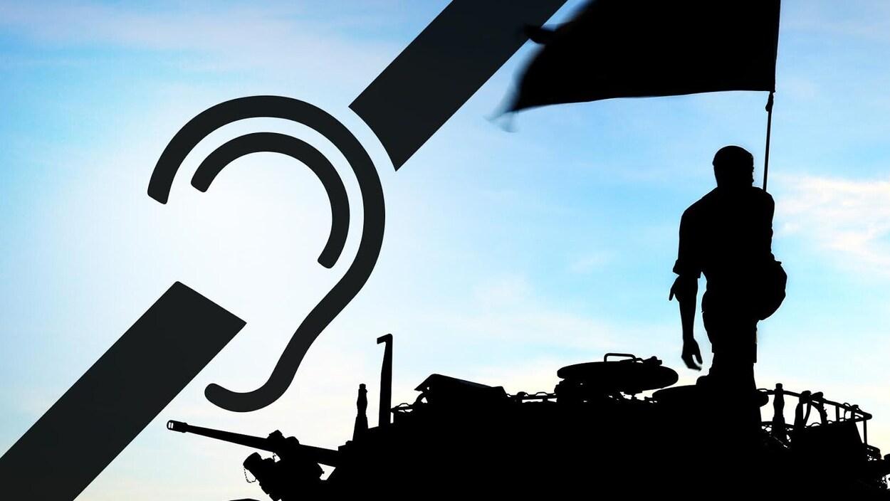 Un montage photo avec un militaire et le symbole international pour personnes sourdes et malentendantes.