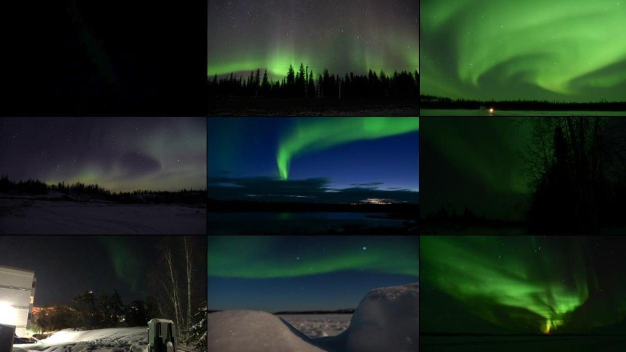 Neuf photos d'aurores boréales, certaines plus réussies que d'autres.