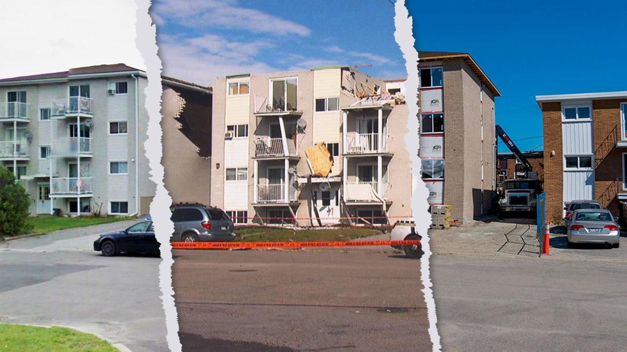 Une résidence avant, après et un an après le passage de la tornade.