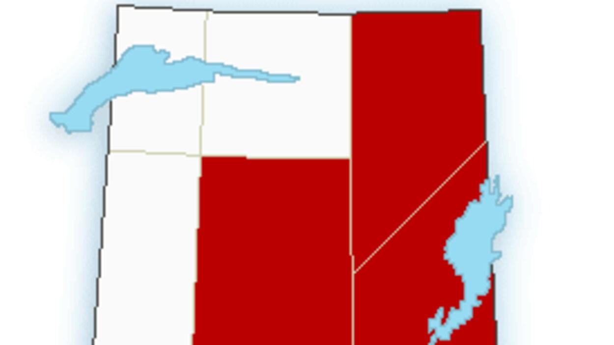 Une carte de la Saskatchewan où les provinces touchées par les précipitations sont ciblées.