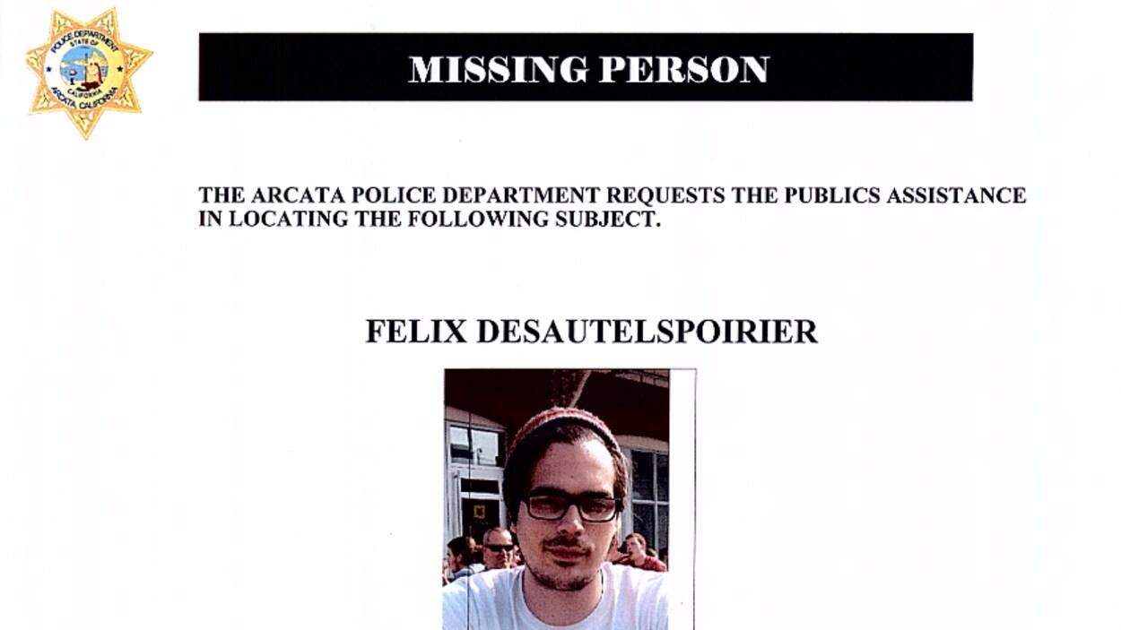 Un avis de recherche a été diffusé pour retrouver Felix Desautels-Poirier.