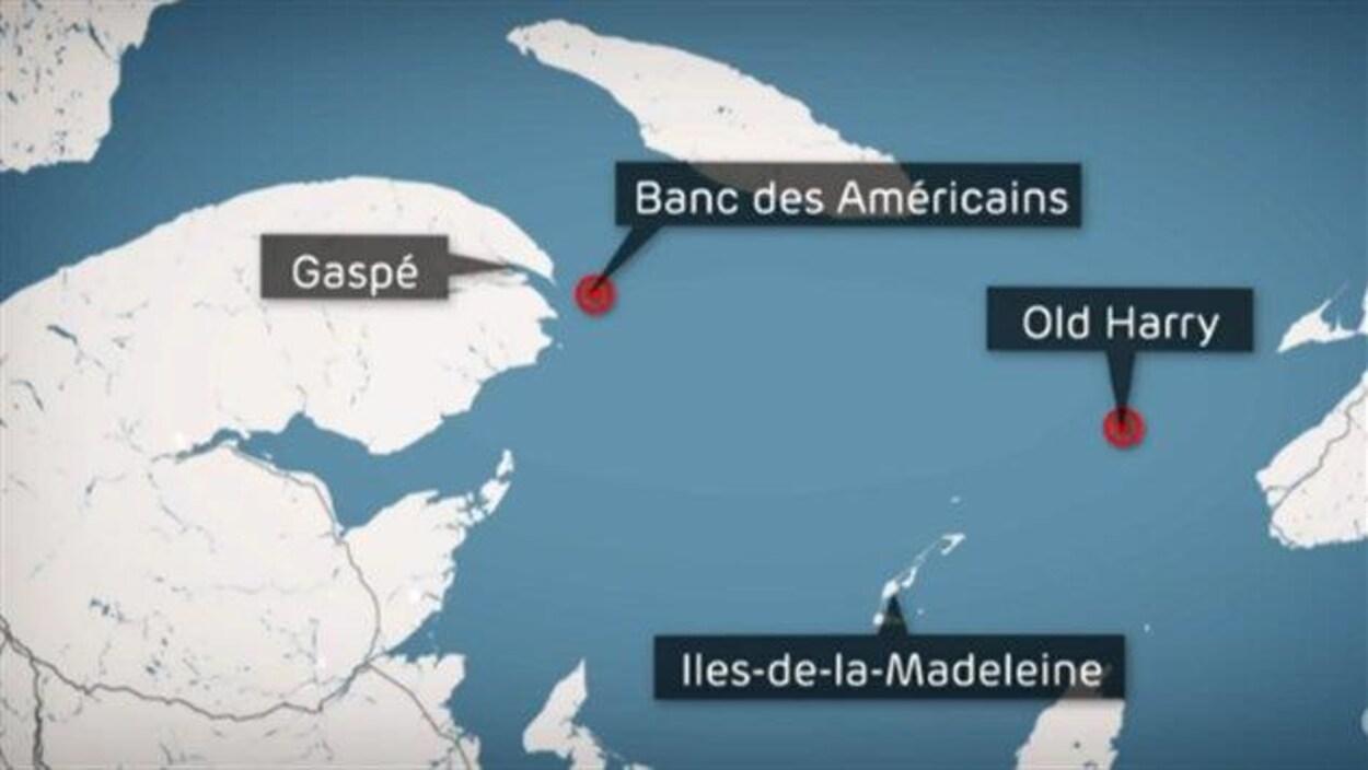 Le Banc des Américains est situé à environ 15 kilomètres de la pointe Saint-Pierre.