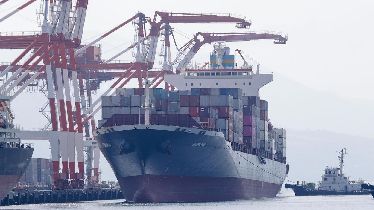 Un porte-conteneurs dans un port.