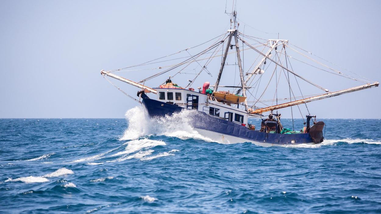 Un bateau de pêche en haute mer.