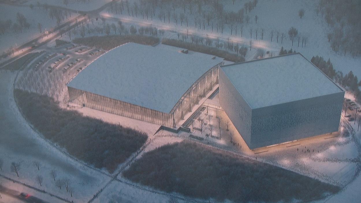 Maquette aérienne de l'emplacement des deux centres de préservation de Bibliothèque et Archives Canada.