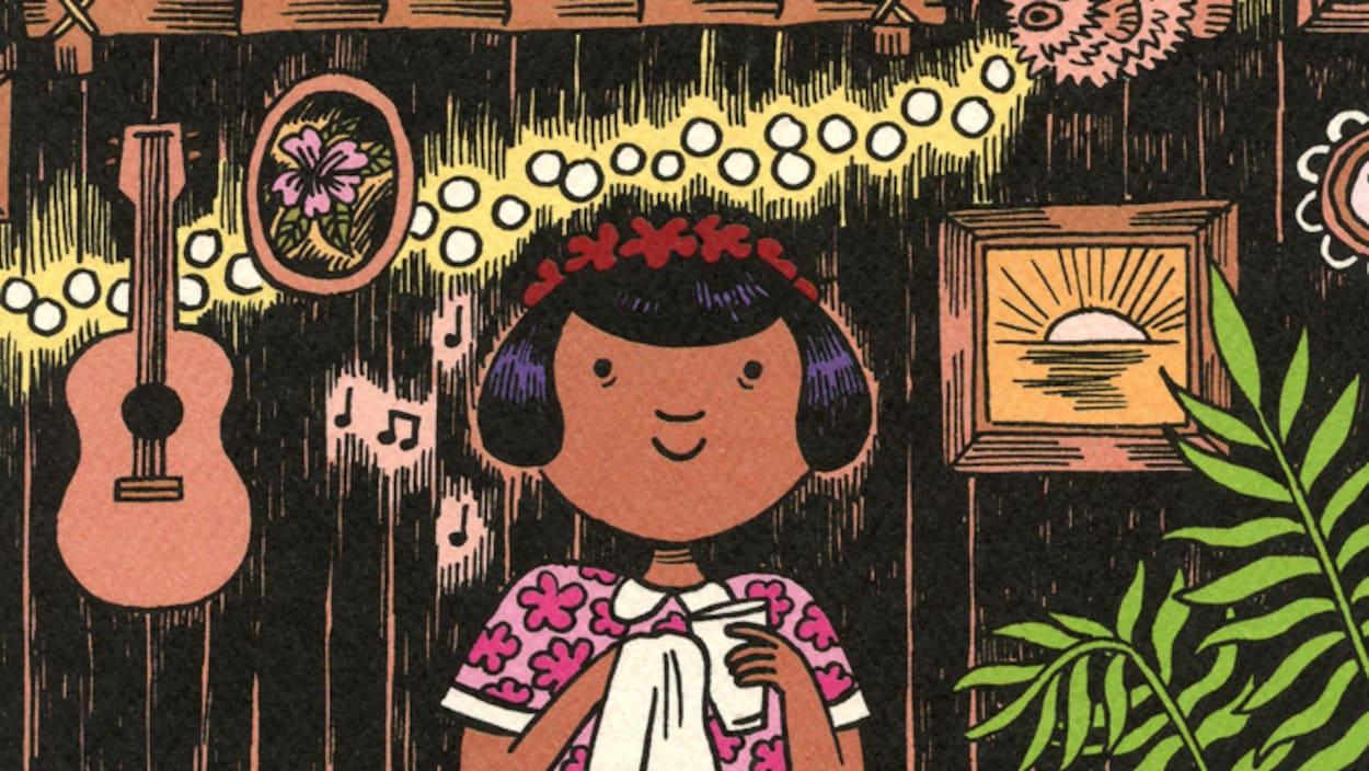 Détail de la couverture du livre <i>Les ananas de la colère</i> de Cathon : dessin d'une fille essuyant un verre dans un décor tiki. Elle est vêtue d'une robe à fleurs et porte une couronne de fleurs sur la tête.