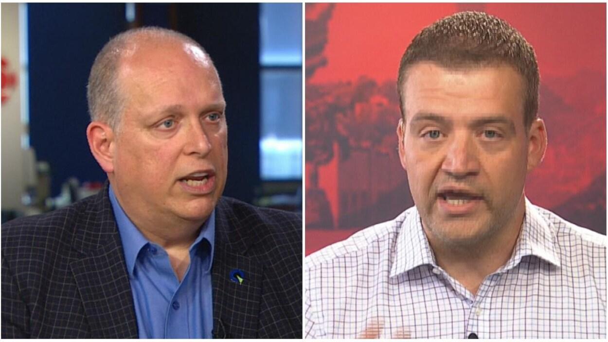 Stéphane Bergeron, du Parti québécois, et Luc Fortin, du gouvernement libéral, ont répondu aux questions sur le recul du français au Québec.