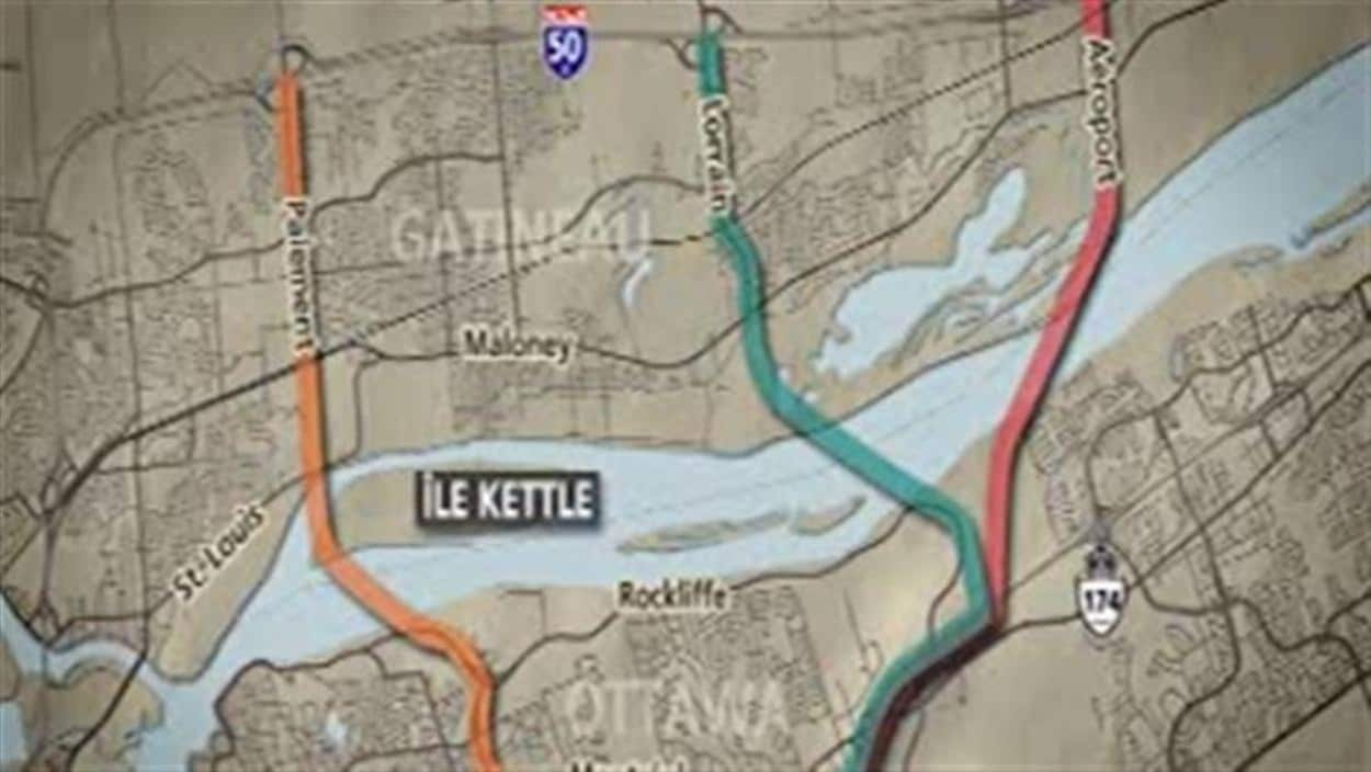 Carte montrant trois tracés potentiels pour un nouveau pont entre Ottawa et Gatineau.