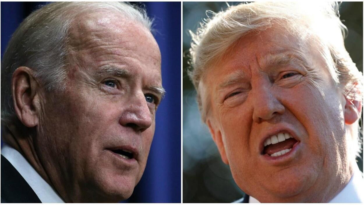 Montage photo de Joe Biden et de Donald Trump en gros plan.