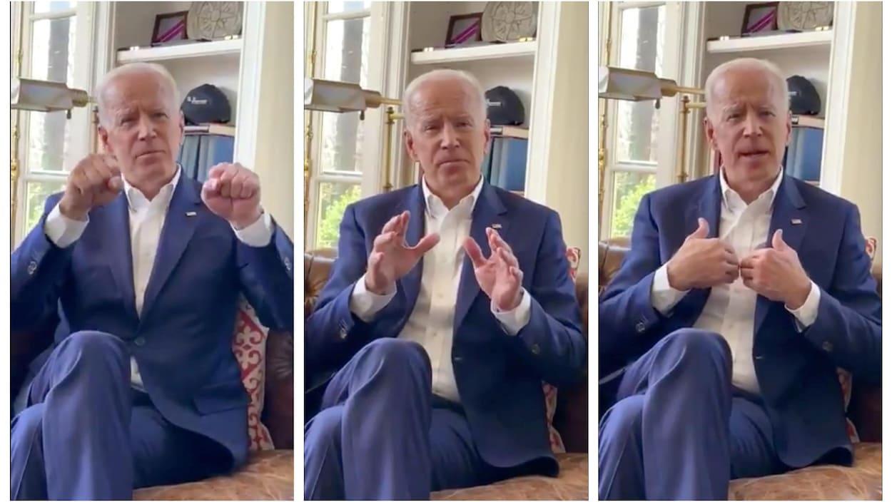 Trois impressions d'écran de la vidéo de Joe Biden, où on le voit s'adresser à la caméra en gesticulant.