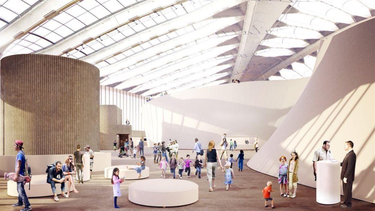 Des visiteurs fictifs se promènent dans une simulation du nouvel espace, grand et illuminé.