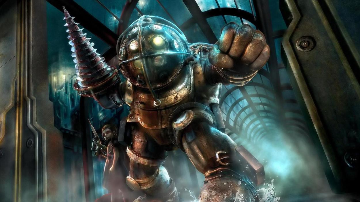 Les personnages Little Sister et Big Daddy de Bioshock.