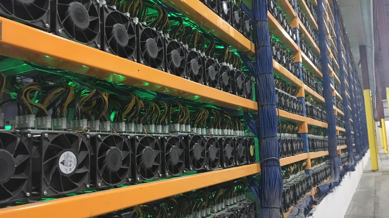 Des ordinateurs rangés par milliers pour calculer des données informatiques.