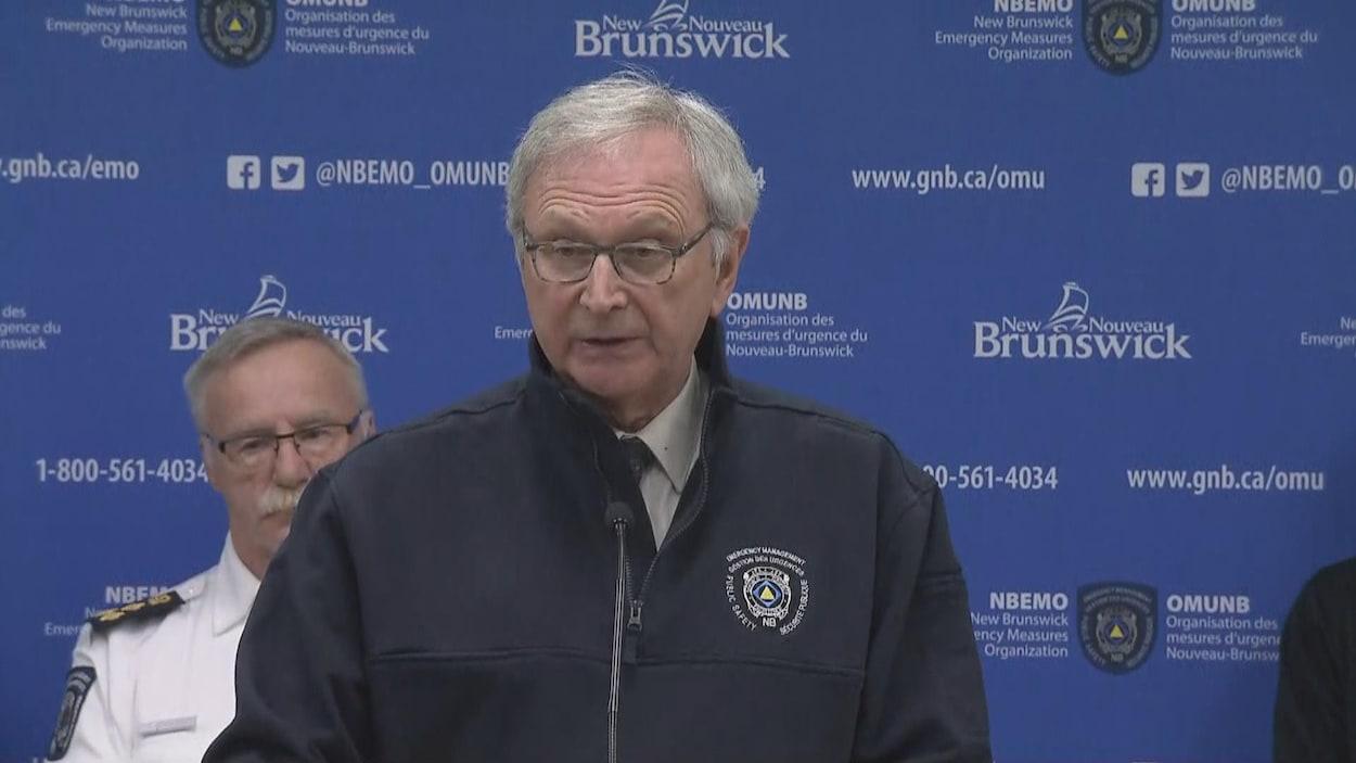 Le premier ministre du Nouveau-Brunswick, Blaine Higgs, en point de presse.