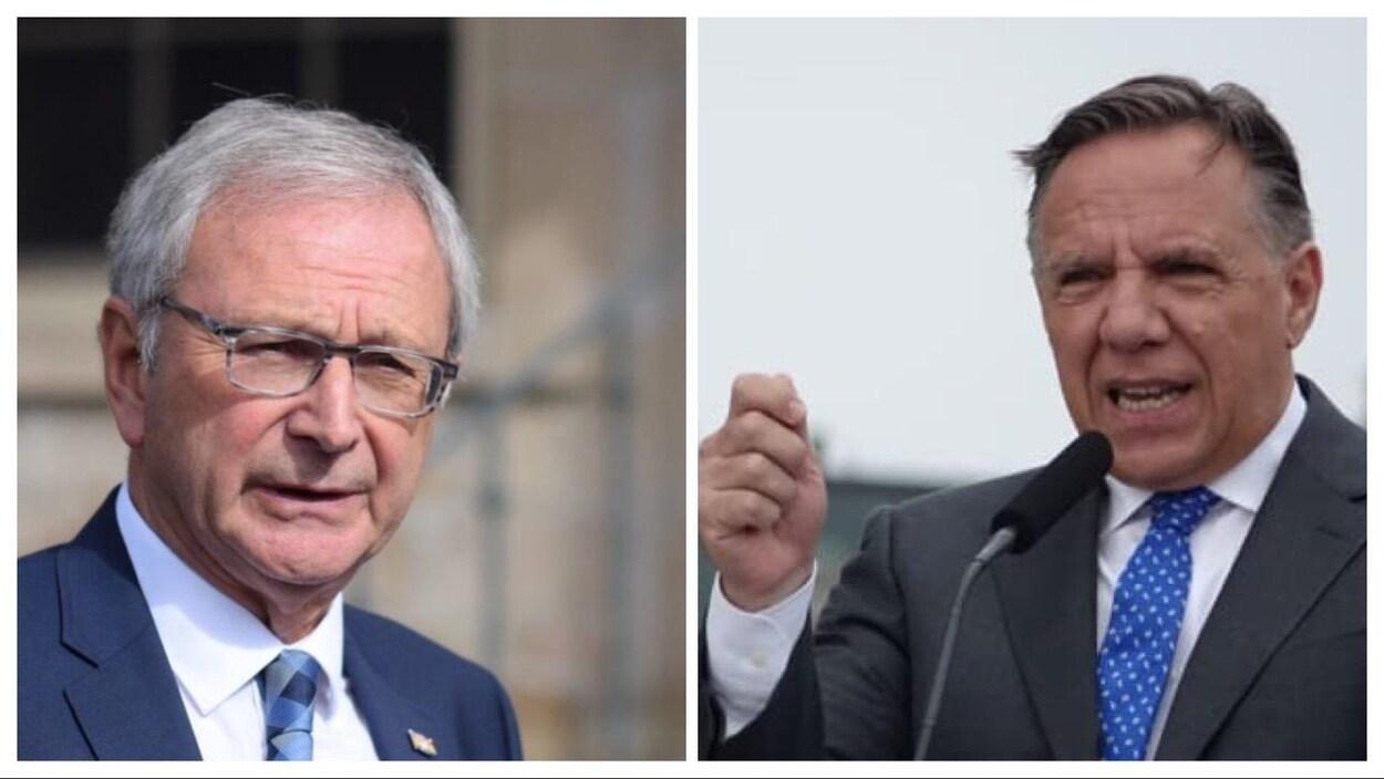 Blaine Higgs, premier ministre du Nouveau-Brunswick, et François Legault, son homologue du Québec.