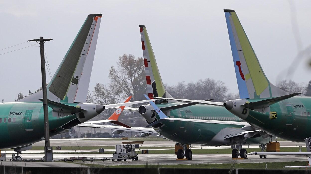 Des appareils Boeing alignés.