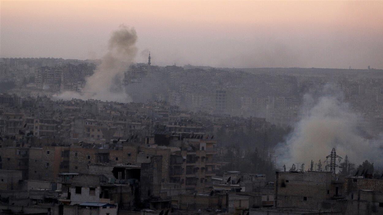 Un quartier d'Alep bombardé