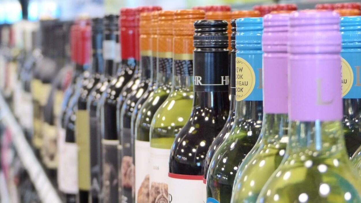 La photo montre en gros plan des bouteilles de vin alignées sur une étagère.