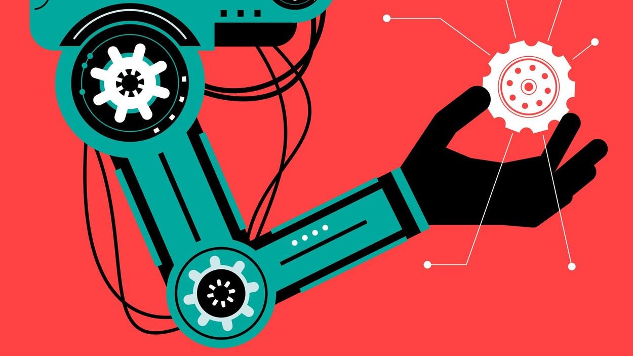Un dessin d'un bras robotisé tenant un engrenage dans sa main.