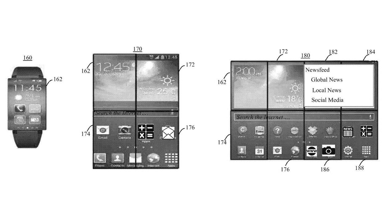 Un dessin illustrant une montre intelligente à gauche et deux écrans plus gros à droite