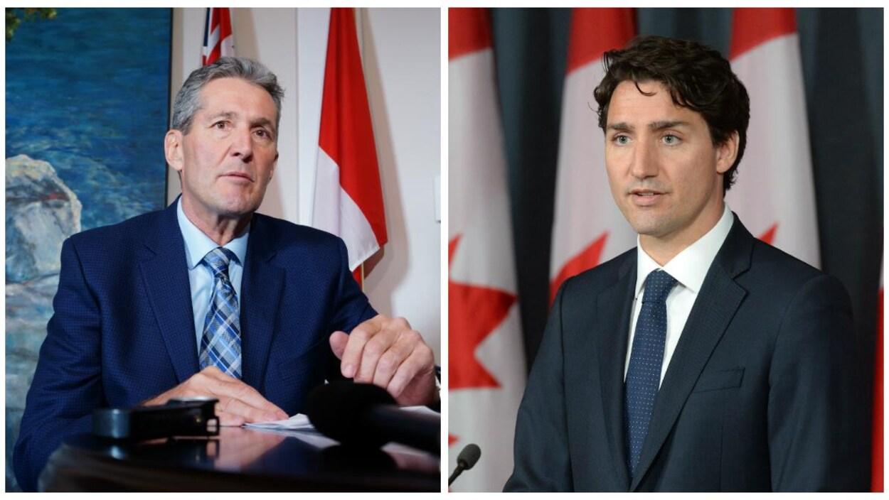 Brian Pallister et Justin Trudeau.