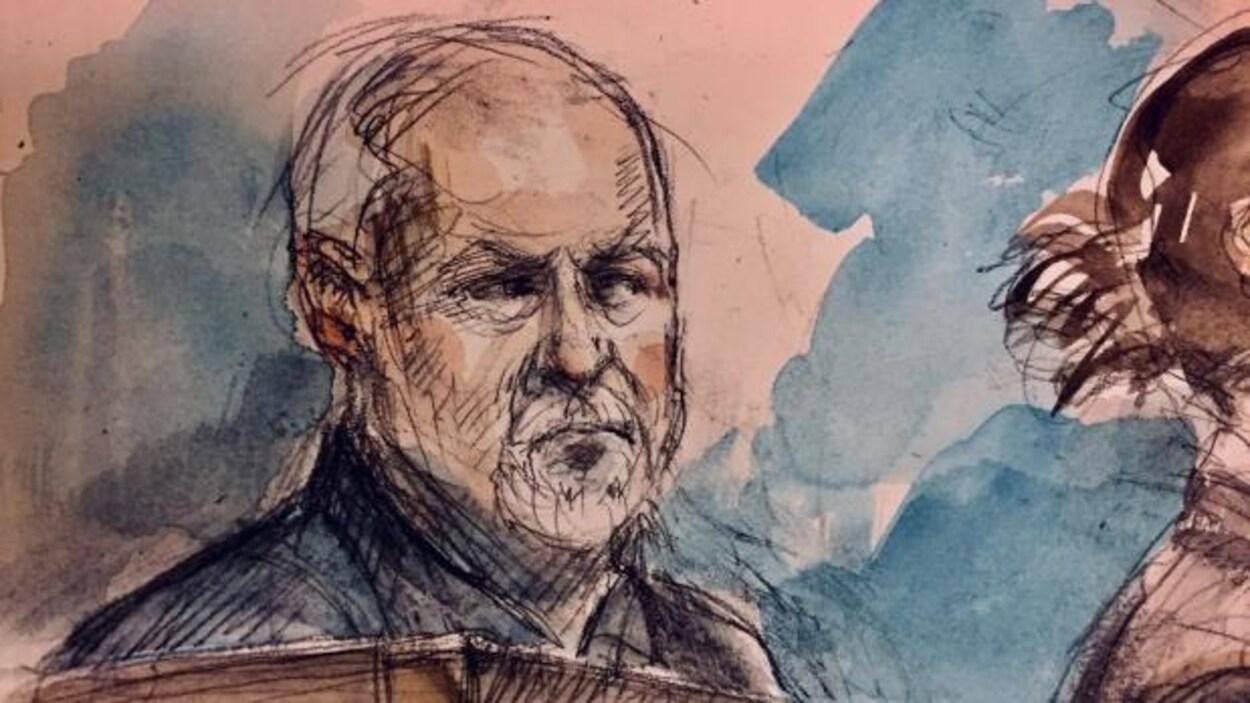 Un dessin de cour d'un homme aux cheveux blancs et à la barbe blanche.