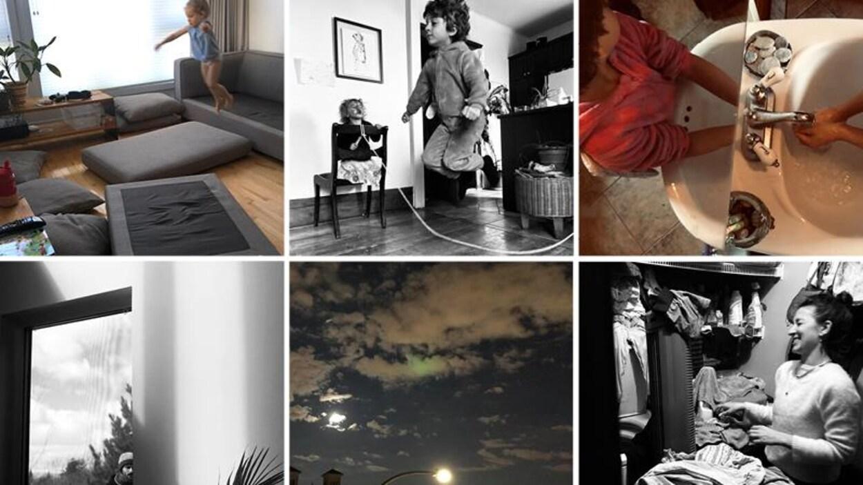 Des montages photo du quotidien avec des enfants à la maison.